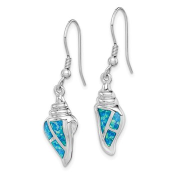 Sterling Silver Rhod-plated Created Blue Opal Seashell Dangle Earrings