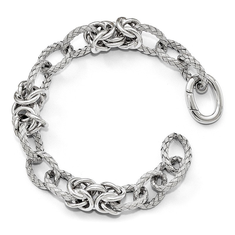 Leslie's Leslie's Sterling Silver Polished Textured Bracelet - Hidden Clasp