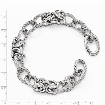 Leslie's Sterling Silver Polished Textured Bracelet - Hidden Clasp