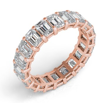 18KRose Gold Emerald Cut Eternity Band