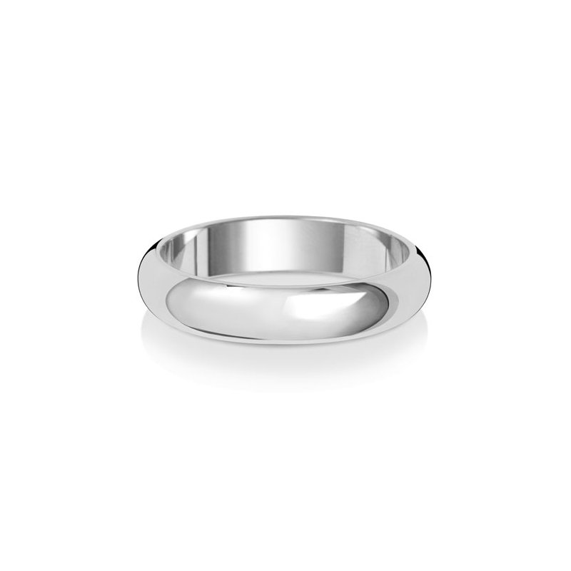 Treasure Platinum 4mm D Shape Wedding Ring