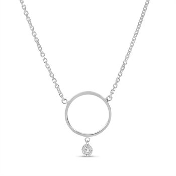 "14K White Gold Circle Diamond Necklace with 18"" Cable Chain"