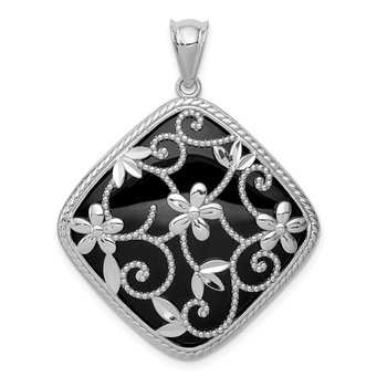 Sterling Silver Rhodium-plated Textured and D/C Onyx Pendant
