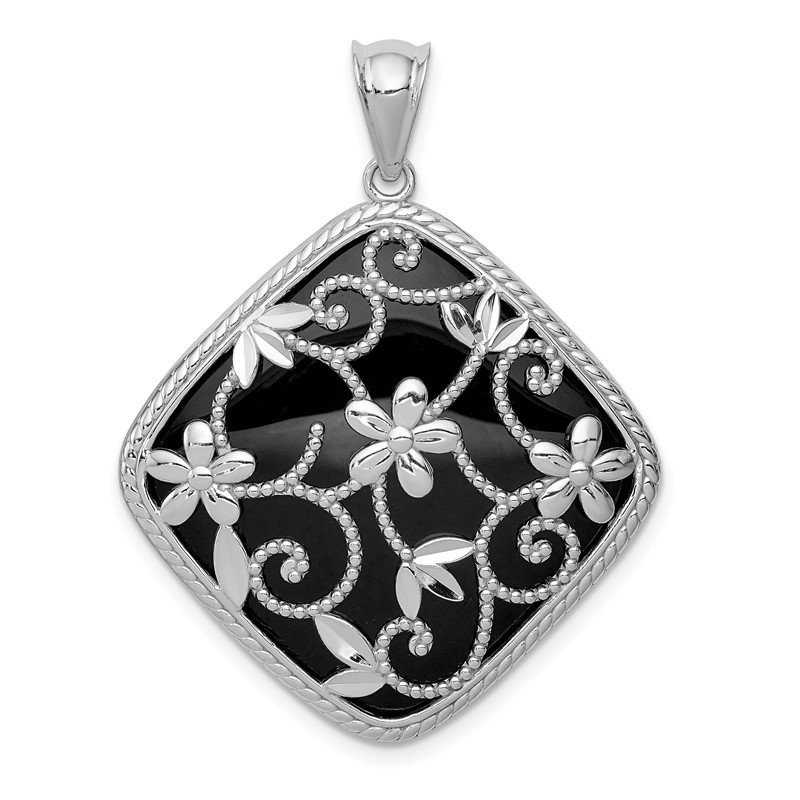 Quality Gold Sterling Silver Rhodium-plated Textured and D/C Onyx Pendant