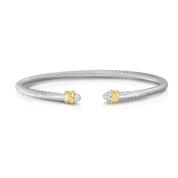 Abbraccio 3mm Diamond Bangle in Sterling Silver & 18K Gold