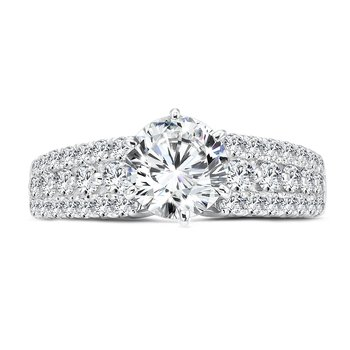 Luxury Collection Diamond Engagement Ring With Side Stones in 14K White Gold with Platinum Head (1-1/4ct. tw.)