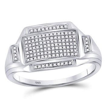 Sterling Silver Mens Round Diamond Rectangle Cluster Fashion Ring 1/4 Cttw