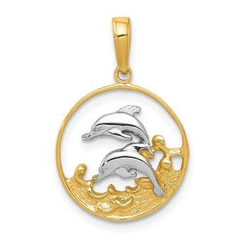 14K and Rhodium Double Dolphins In Circle Pendant