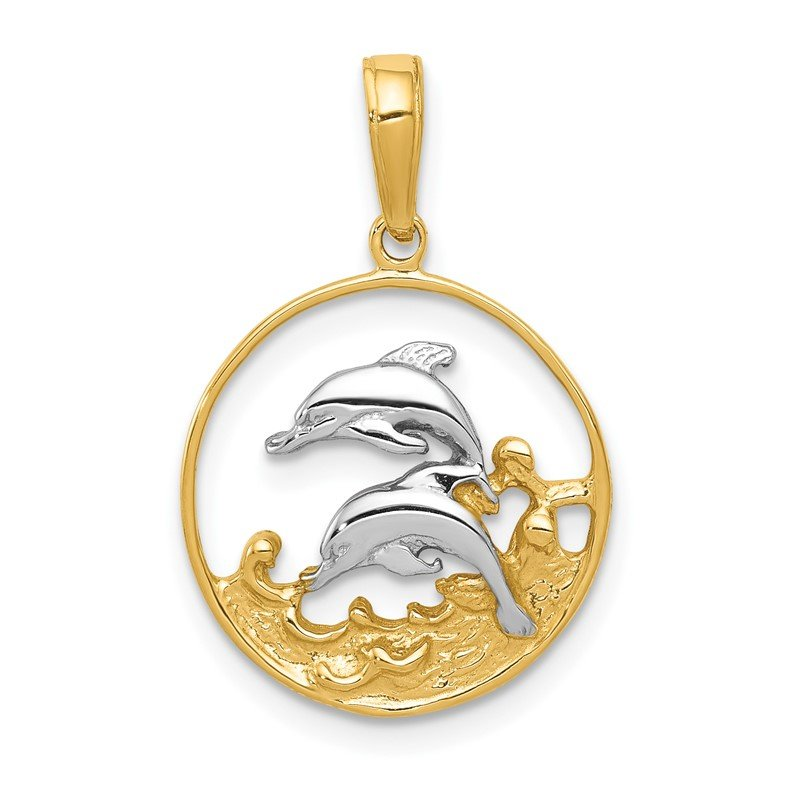 Quality Gold 14K and Rhodium Double Dolphins In Circle Pendant