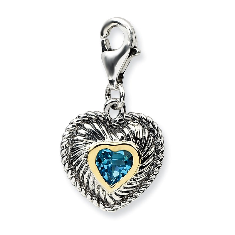 Shey Couture Sterling Silver w/14k Blue Topaz Antiqued Charm