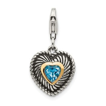 Sterling Silver w/14k Blue Topaz Antiqued Charm