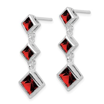 Sterling Silver Rhodium-plated Polished Garnet Post Dangle Earrings