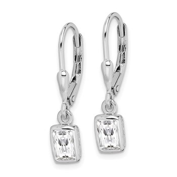 Sterling Silver Rhodium-plated 6x4mm CZ Leverback Earrings