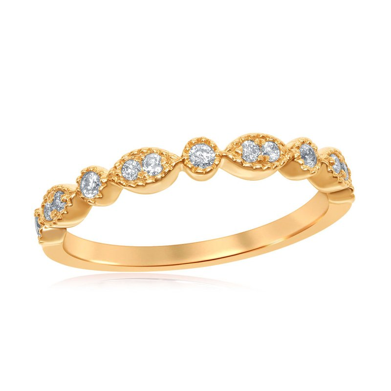 Gold-N-Diamonds, Inc. (Atlanta) 14kt Yellow Gold Womens Round Diamond Milgrain Stackable Band Ring 1/6 Cttw