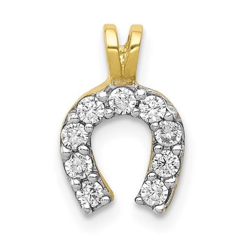 10k Small CZ Horseshoe Charm