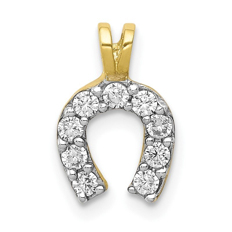 Quality Gold 10k Small CZ Horseshoe Charm