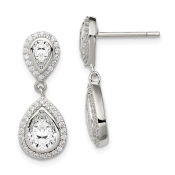 Sterling Silver CZ Pear w/Halo Post Dangle Earrings