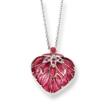 Red Heart Necklace.Sterling Silver-Ruby - Plique-a-Jour