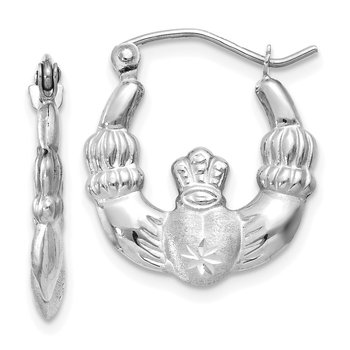 14k White Gold Satin and Diamond-cut Claddagh Hoop Earrings