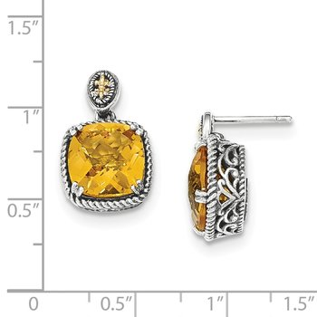 Sterling Silver w/14k Citrine Dangle Post Earrings