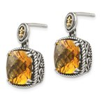 Shey Couture Sterling Silver w/14k Citrine Dangle Post Earrings