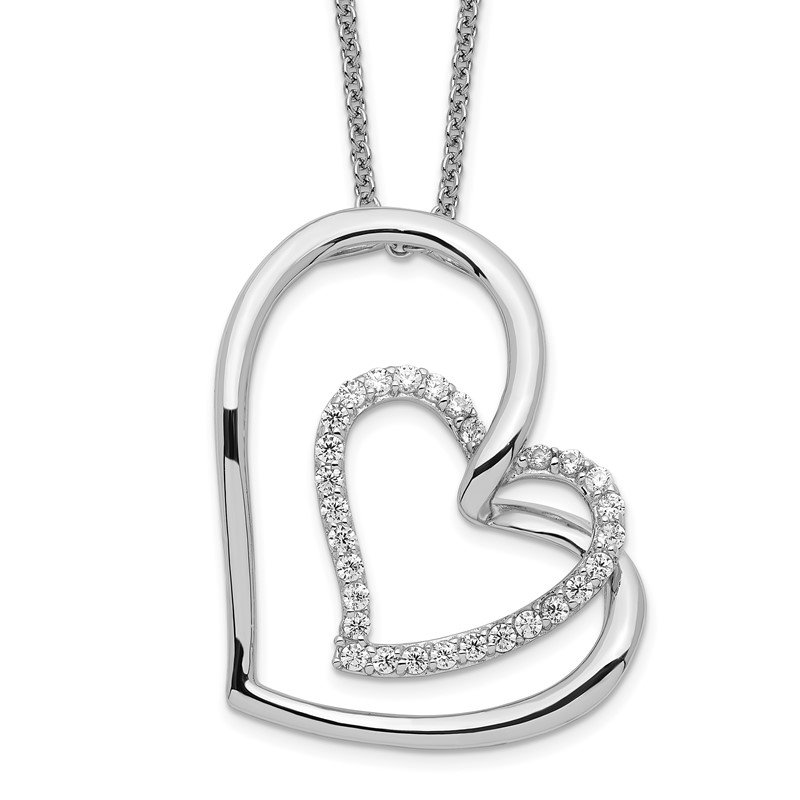 Quality Gold Sterling Silver Antiqued CZ Thank You Mother 18in Hearts Necklace