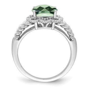 Sterling Silver Rhodium Checker-Cut Green Quartz & Diam. Ring