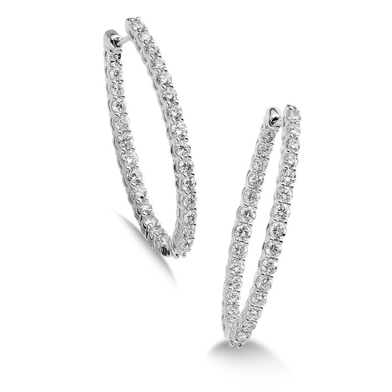 SDC Creations Pave set Diamond Oval Reflection Hoops in 14k White Gold (3/4 ct. tw.) GH/SI1-SI2