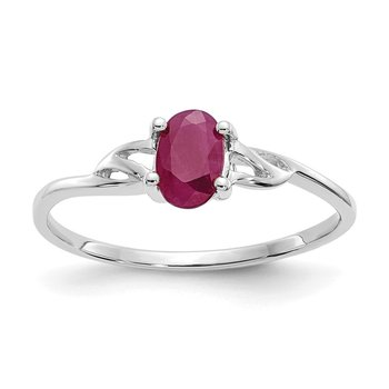 10k White Gold Polished Geniune Ruby Birthstone Ring