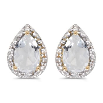 14k Yellow Gold Pear White Topaz And Diamond Earrings