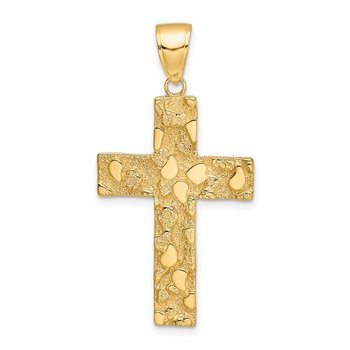 14K Polished/Textured Nugget Style Cross Pendant