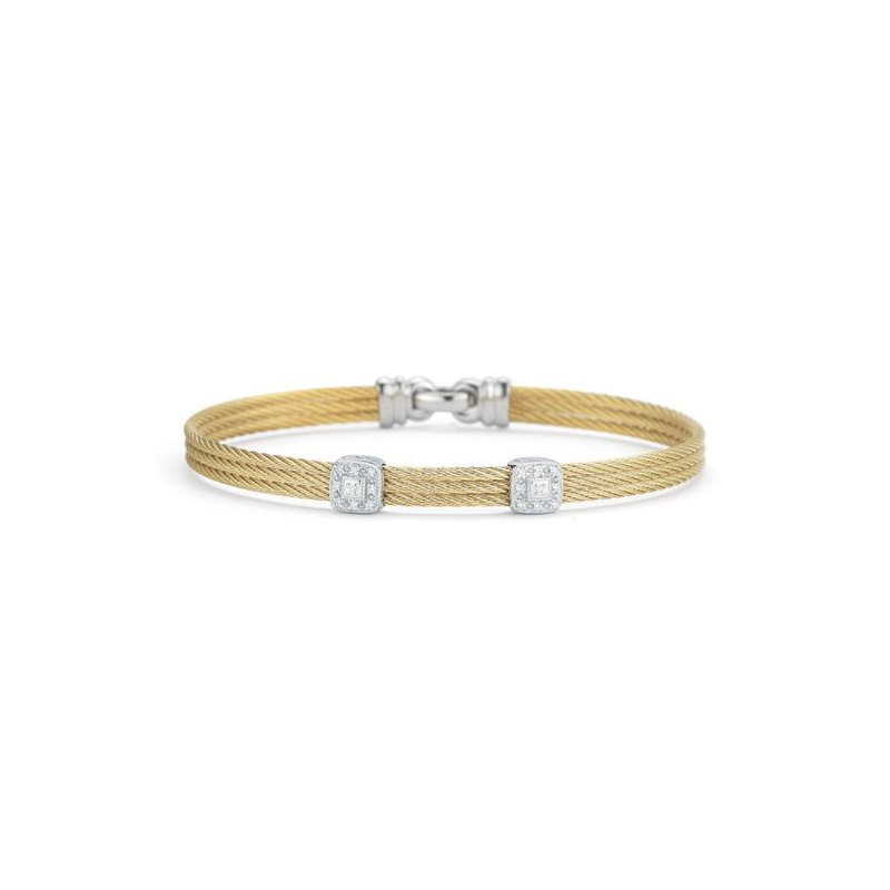 ALOR Yellow Cable Classic Stackable Bracelet with Double Square Station set in 18kt White Gold