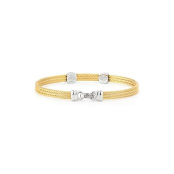 Yellow Cable Classic Stackable Bracelet with Double Square Station set in 18kt White Gold