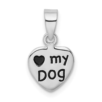 Sterling Silver Rhodium-plated Antiqued Love My Dog Pendant