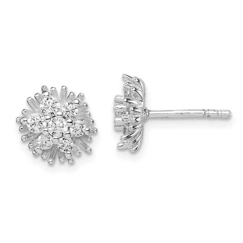 Quality Gold Sterling Silver Rhodium Plated CZ Post Flower Earrings