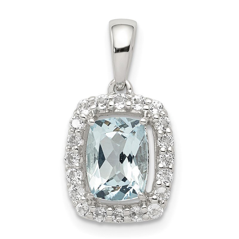 Quality Gold Sterling Silver Rhodium Plated White Topaz & Aquamarine Pendant