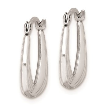 Sterling Silver Rhodium Plated Hollow Hoop Earrings