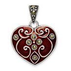 Quality Gold Sterling Silver Red Enamel and Marcasite Heart Pendant