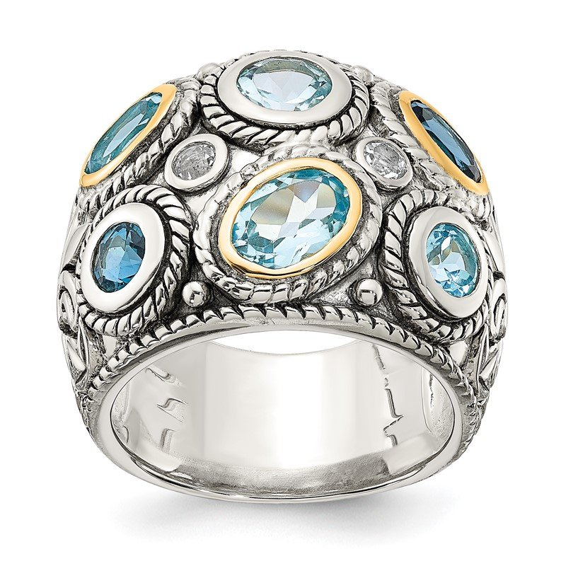 Quality Gold Sterling Silver w/14k Gold and Blue Topaz Fancy Ring