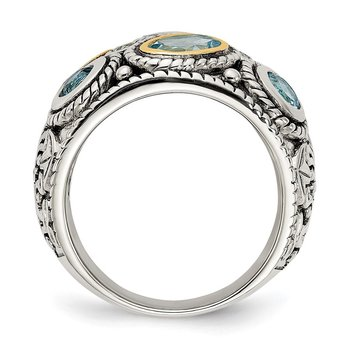 Sterling Silver w/14k Gold and Blue Topaz Fancy Ring