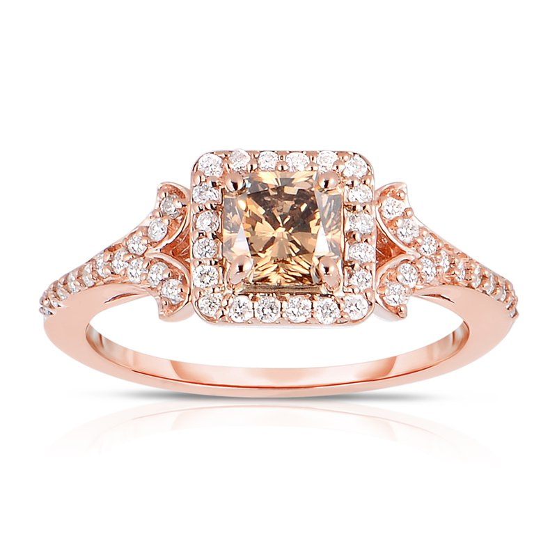 Eloquence Natural Mocha 1.20ctw Radiant Cut Diamond Engagement Ring with .85ct Natural Mocha center