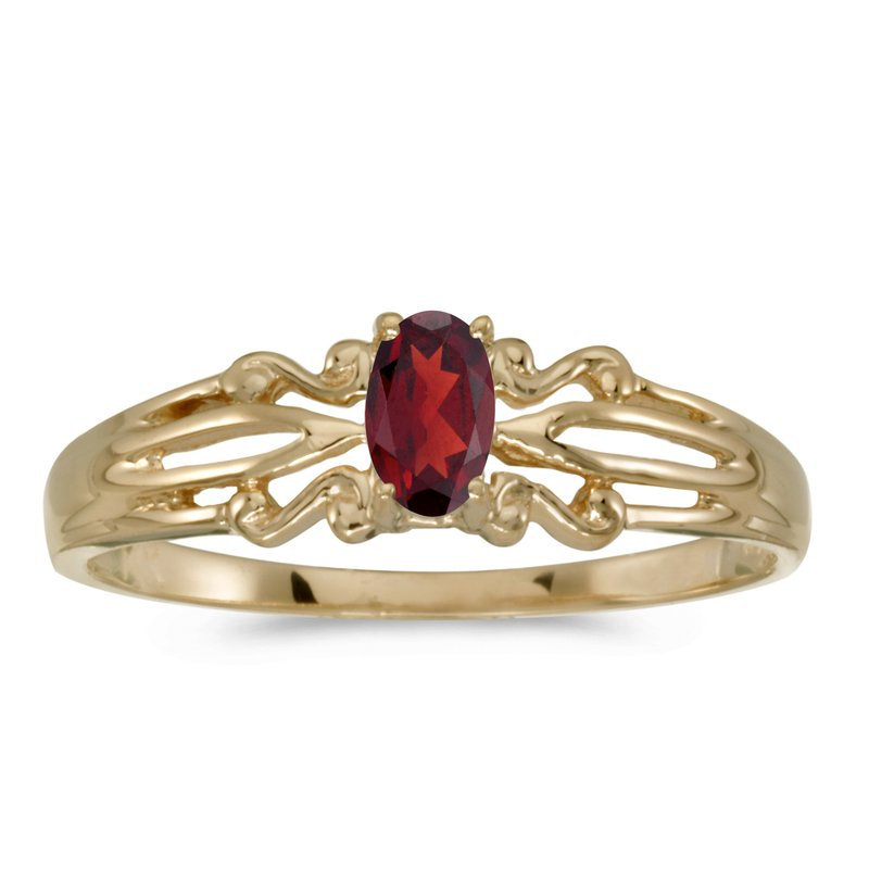 Color Merchants 10k Yellow Gold Oval Garnet Ring