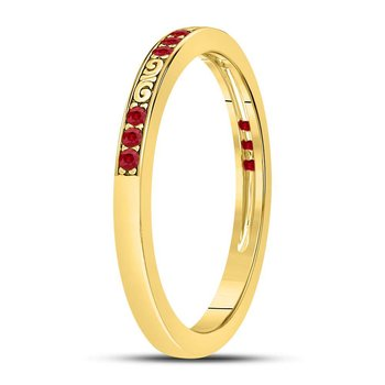 10kt Yellow Gold Womens Round Ruby Single Row Flourished Stackable Band Ring 1/8 Cttw