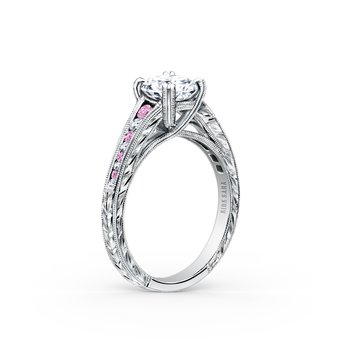 Pink Sapphire Engraved Diamond Engagement Ring