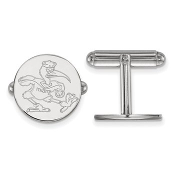 Sterling Silver University of Miami NCAA Cuff Links
