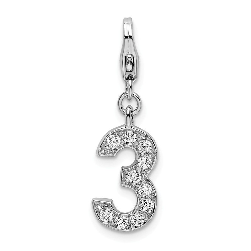 Quality Gold Sterling Silver RH CZ Numeral 3 w/Lobster Clasp Charm