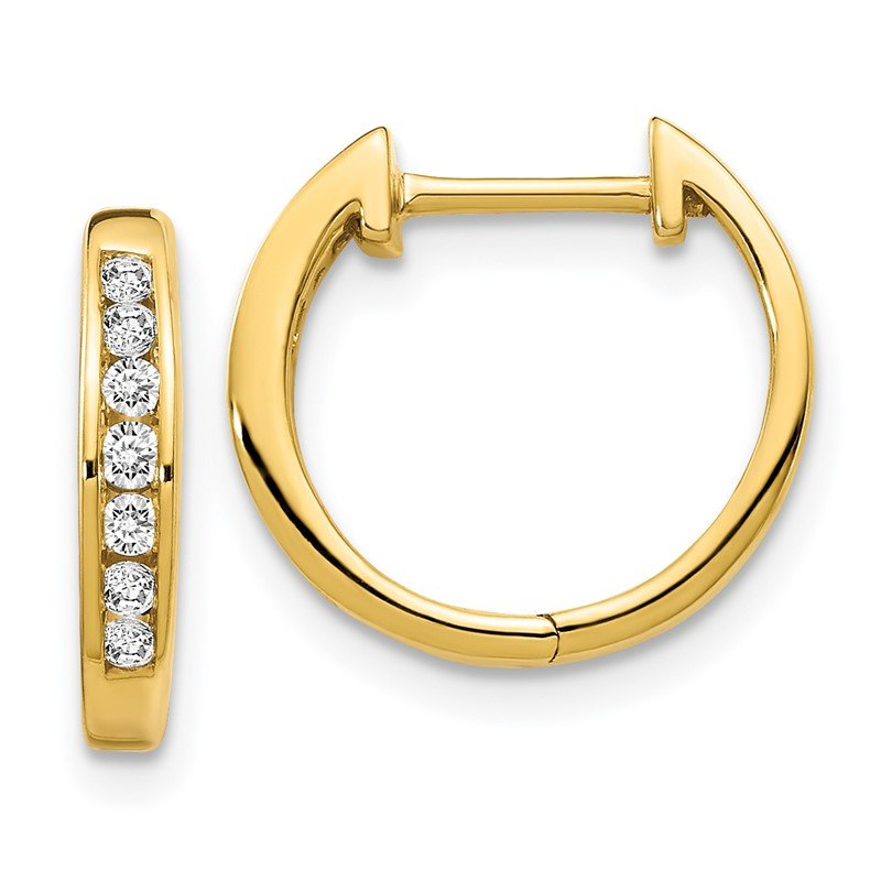 Quality Gold 14k Rose Gold Polished Diamond Hinged Hoop Earrings