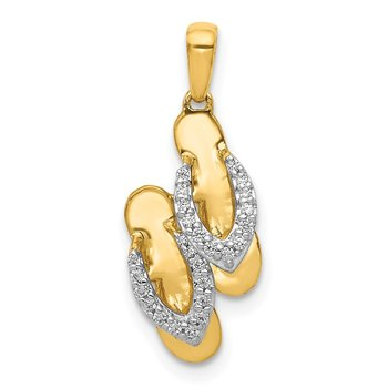 14k and Rhodium Diamond Flip Flops Charm