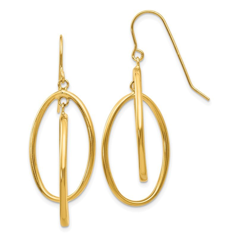 Quality Gold 14k Polished Double Circle Dangle Wire Earrings