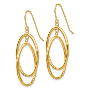 14k Polished Double Circle Dangle Wire Earrings